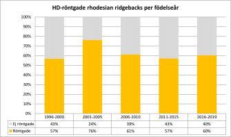 <p>Andel HD-röntgande av antal svenskfödda rhodesian ridgebacks fördelat per hundarnas födelseår. Uppdaterad 2019-12-31.</p>